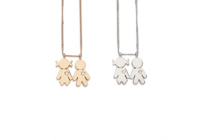Ciondoli Bimbi oro bianco, oro rosa e brillanti